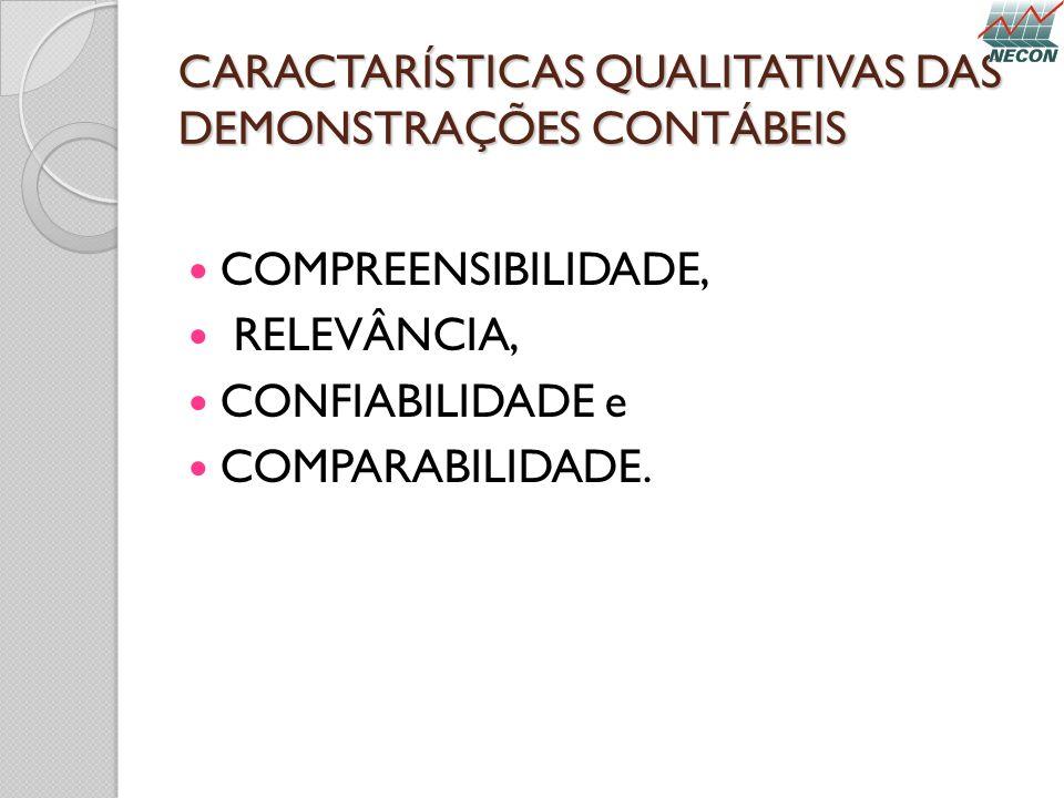 CARACTARÍSTICAS QUALITATIVAS DAS DEMONSTRAÇÕES CONTÁBEIS