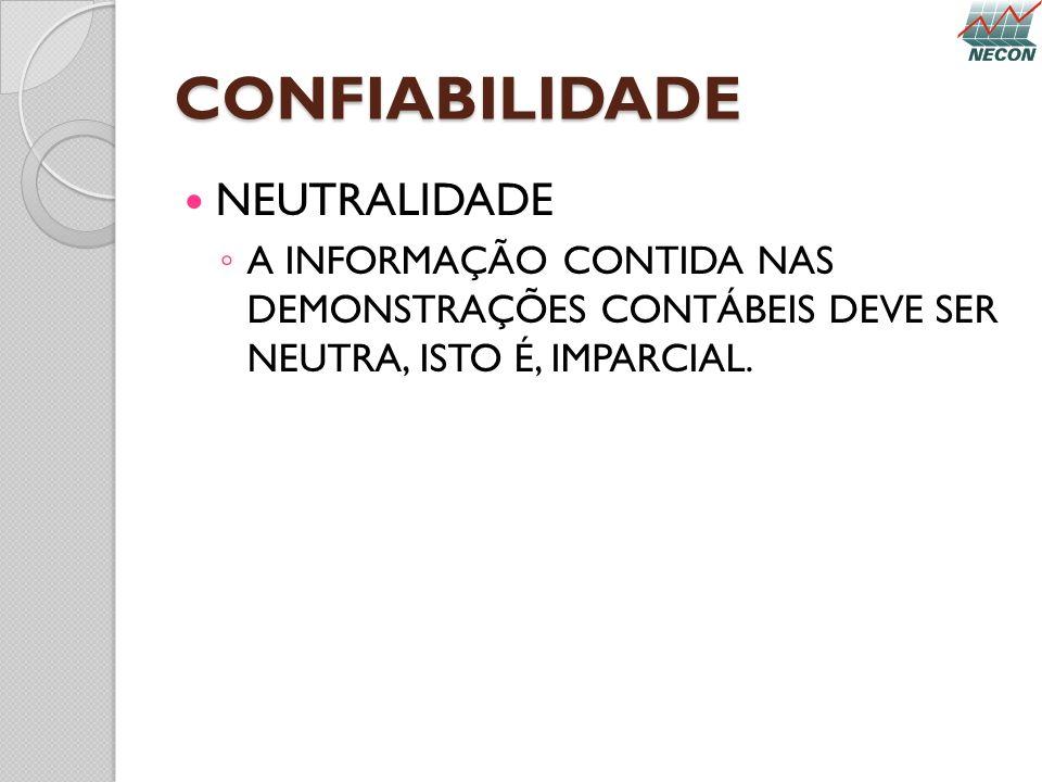 CONFIABILIDADE NEUTRALIDADE
