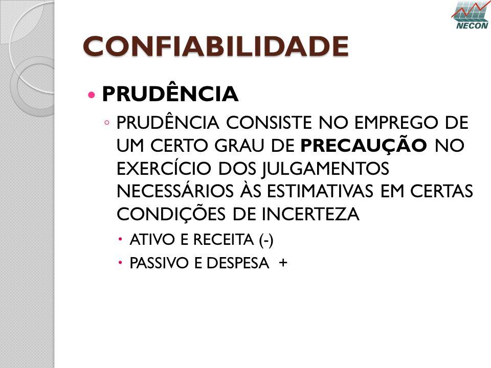 CONFIABILIDADE PRUDÊNCIA