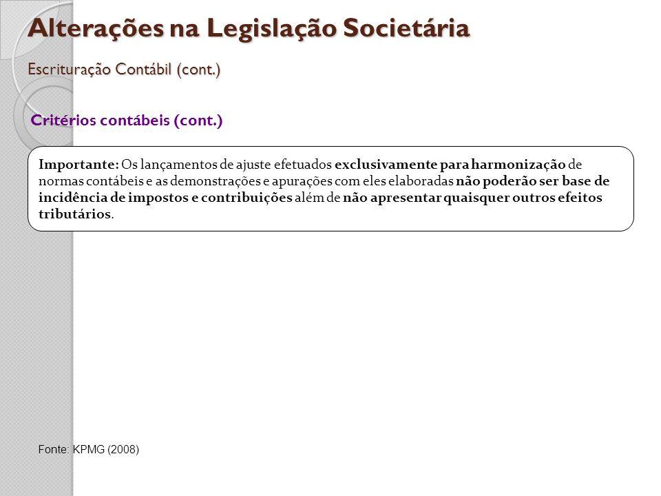 Alterações na Legislação Societária Escrituração Contábil (cont.)