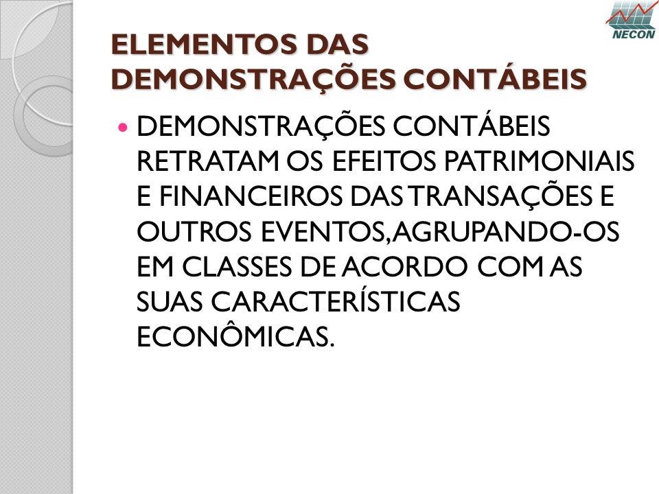 ELEMENTOS DAS DEMONSTRAÇÕES CONTÁBEIS