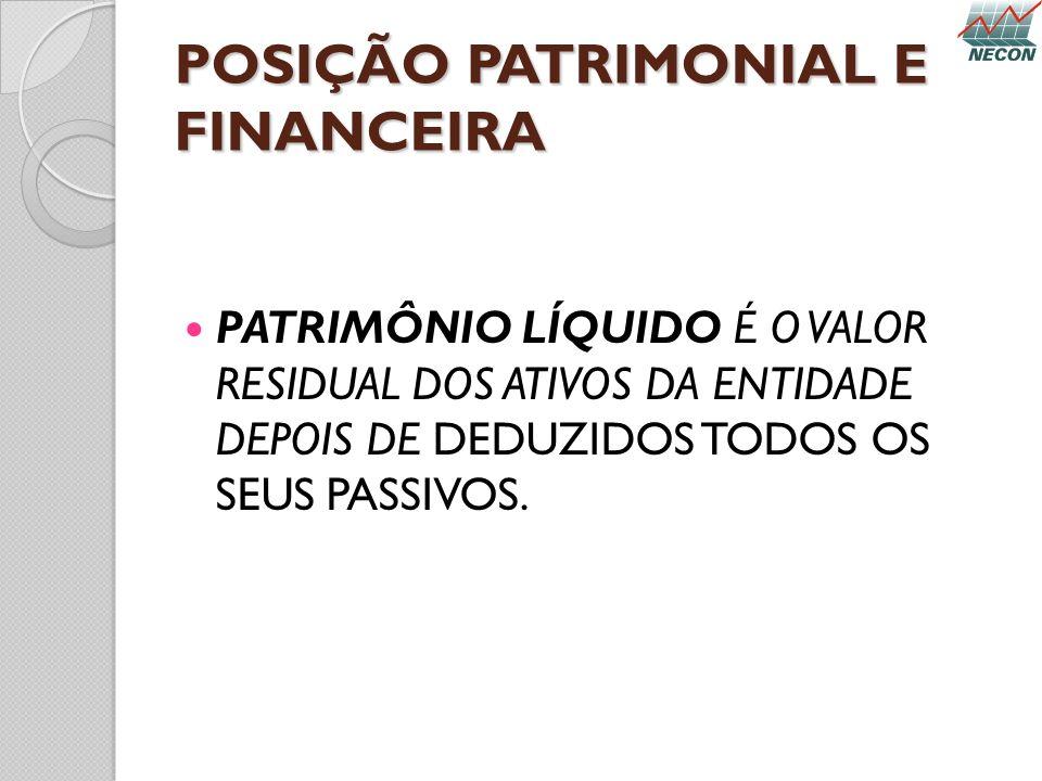 POSIÇÃO PATRIMONIAL E FINANCEIRA