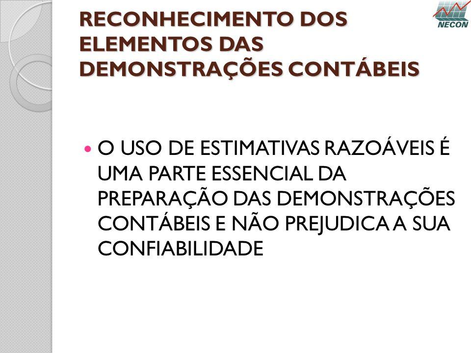 RECONHECIMENTO DOS ELEMENTOS DAS DEMONSTRAÇÕES CONTÁBEIS