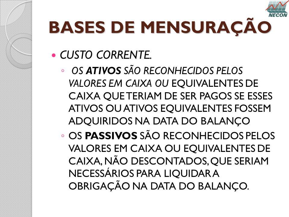 BASES DE MENSURAÇÃO CUSTO CORRENTE.