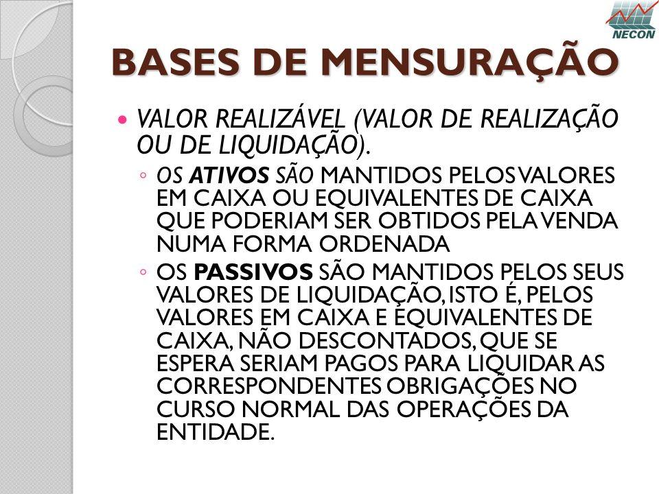 BASES DE MENSURAÇÃO VALOR REALIZÁVEL (VALOR DE REALIZAÇÃO OU DE LIQUIDAÇÃO).