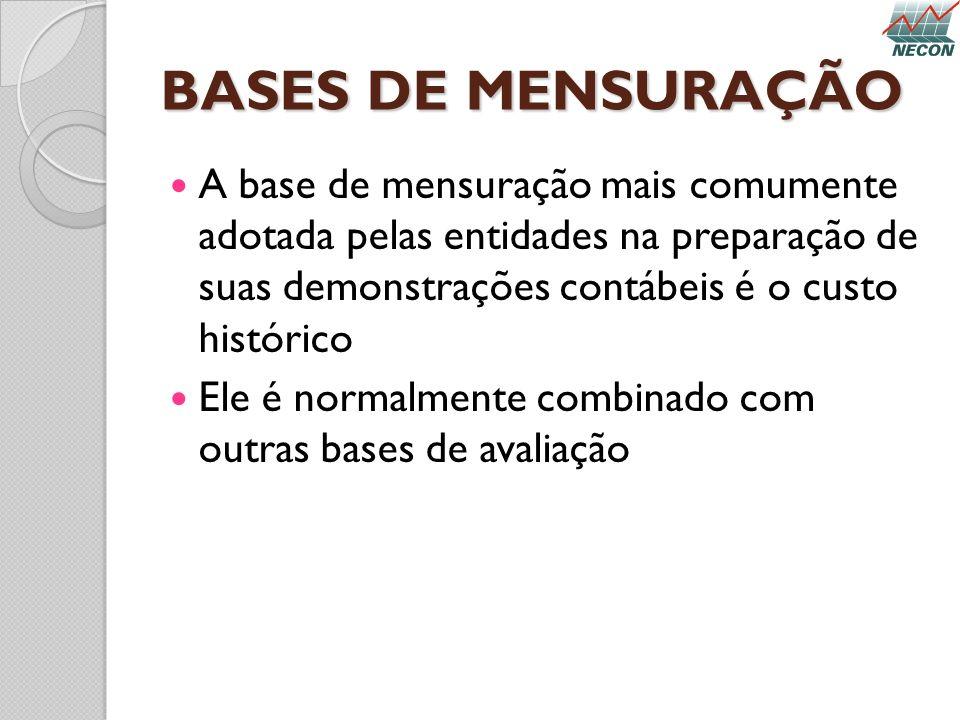 BASES DE MENSURAÇÃO A base de mensuração mais comumente adotada pelas entidades na preparação de suas demonstrações contábeis é o custo histórico.