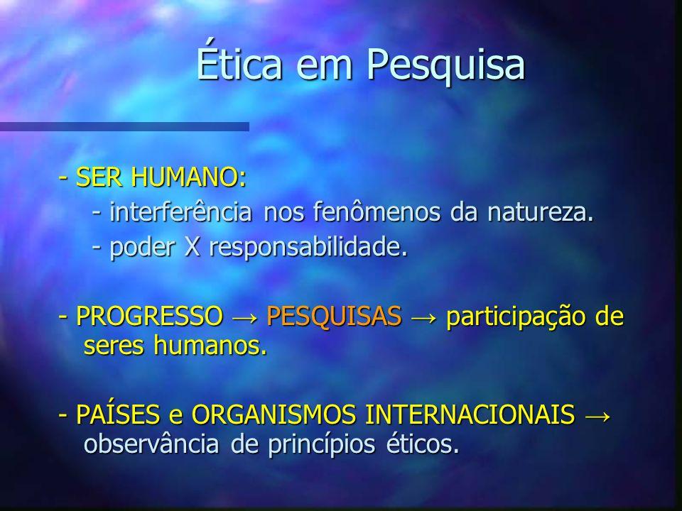 Ética em Pesquisa - SER HUMANO: