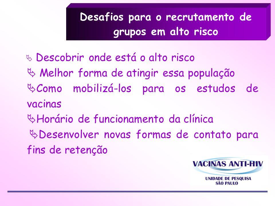 Desafios para o recrutamento de grupos em alto risco