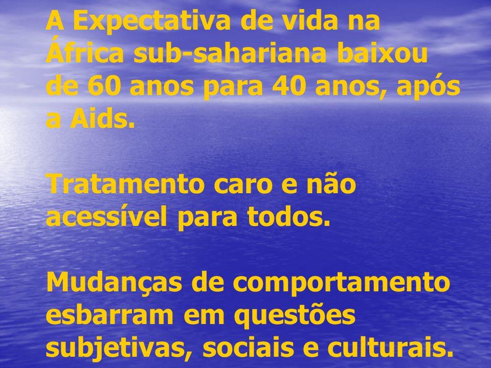 A Expectativa de vida na África sub-sahariana baixou de 60 anos para 40 anos, após a Aids.