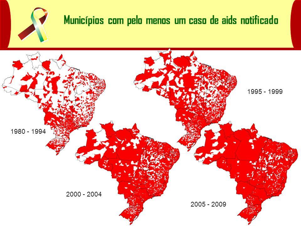 Municípios com pelo menos um caso de aids notificado