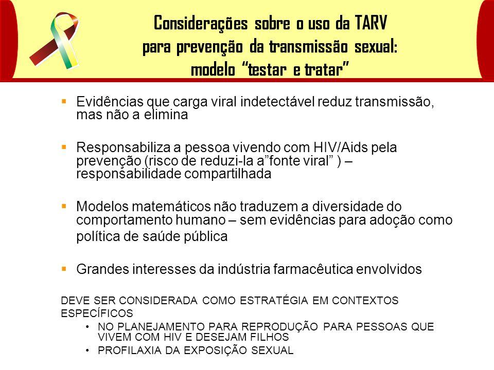 Considerações sobre o uso da TARV para prevenção da transmissão sexual: modelo testar e tratar