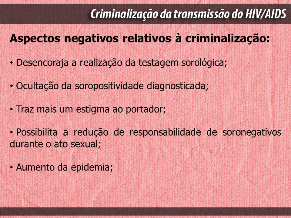 Aspectos negativos relativos à criminalização: