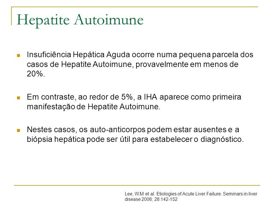 Hepatite AutoimuneInsuficiência Hepática Aguda ocorre numa pequena parcela dos casos de Hepatite Autoimune, provavelmente em menos de 20%.
