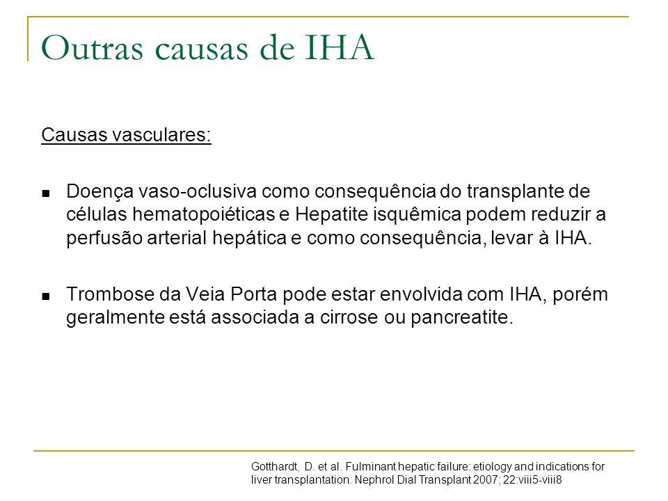 Outras causas de IHA Causas vasculares: