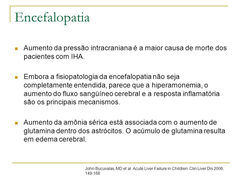 Encefalopatia Aumento da pressão intracraniana é a maior causa de morte dos pacientes com IHA.