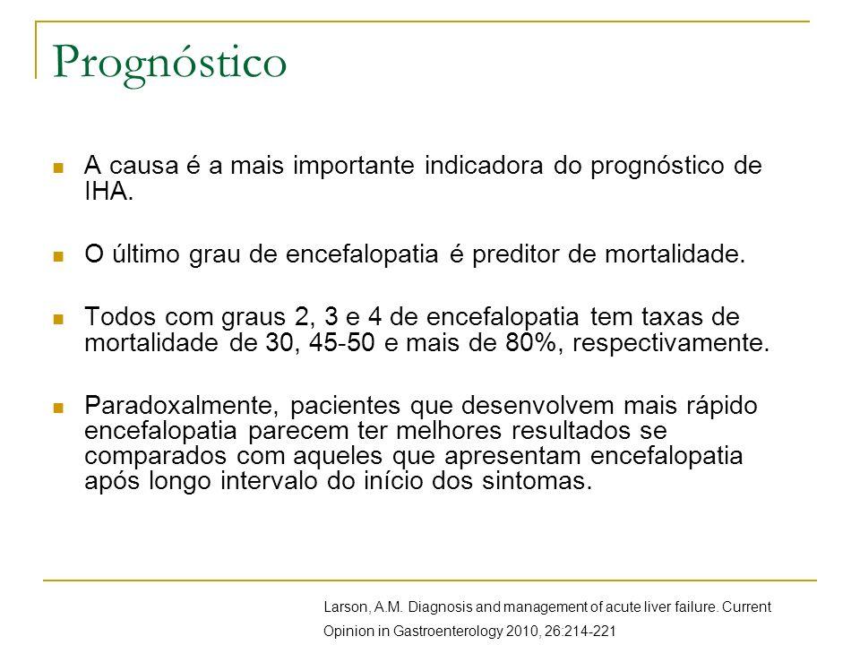 PrognósticoA causa é a mais importante indicadora do prognóstico de IHA. O último grau de encefalopatia é preditor de mortalidade.
