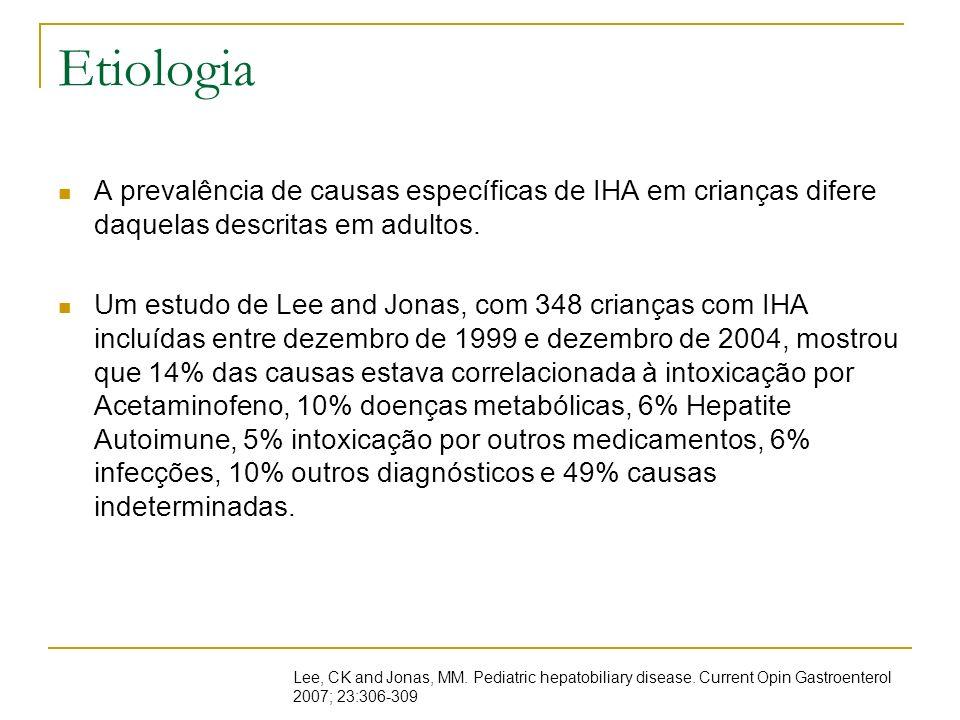 EtiologiaA prevalência de causas específicas de IHA em crianças difere daquelas descritas em adultos.