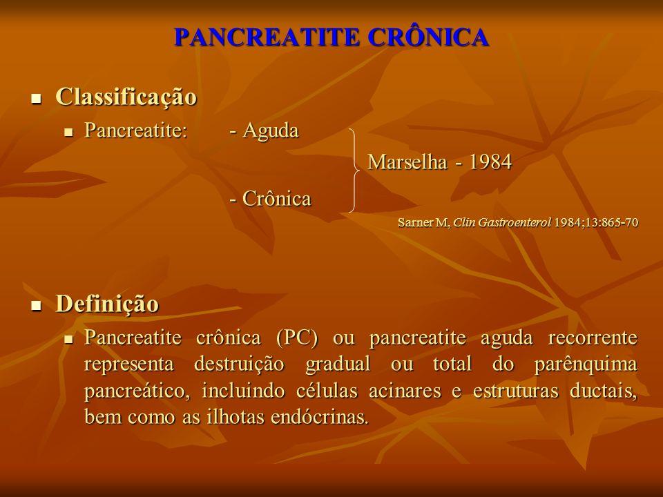 PANCREATITE CRÔNICA Classificação Definição Pancreatite: - Aguda