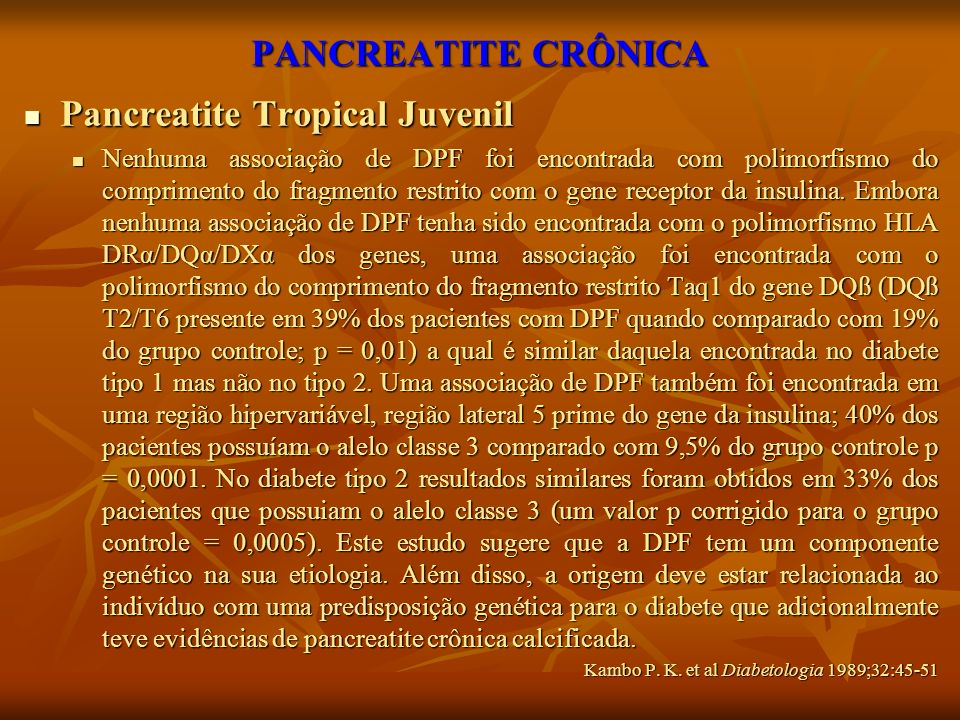 Pancreatite Tropical Juvenil