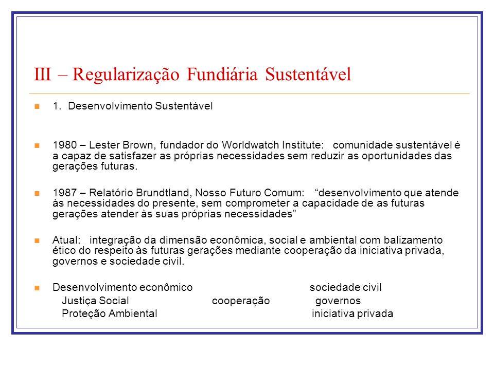 III – Regularização Fundiária Sustentável