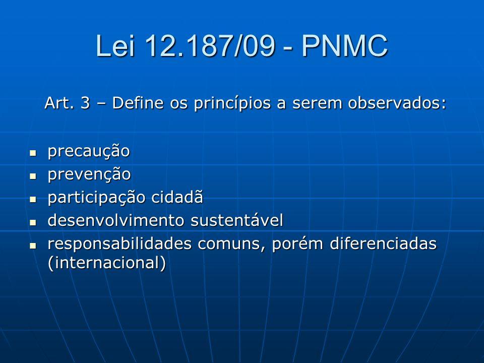 Lei 12.187/09 - PNMC Art. 3 – Define os princípios a serem observados: