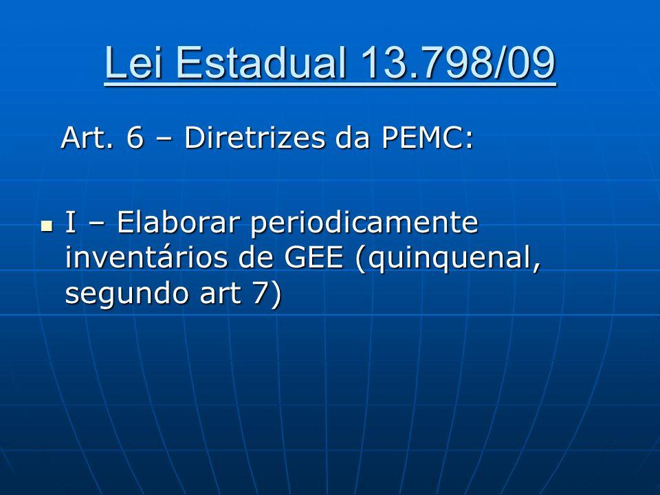 Lei Estadual 13.798/09 Art. 6 – Diretrizes da PEMC: