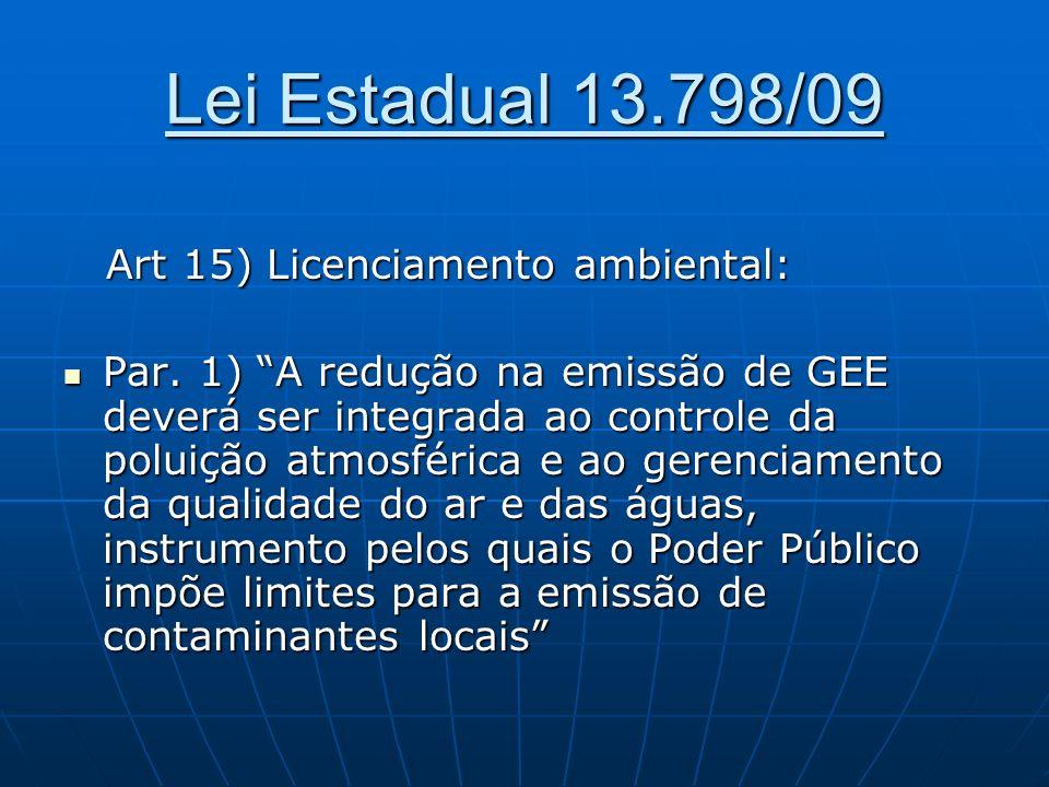 Lei Estadual 13.798/09 Art 15) Licenciamento ambiental: