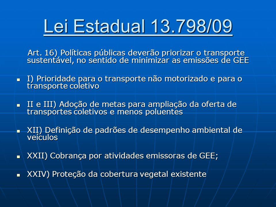 Lei Estadual 13.798/09 Art. 16) Políticas públicas deverão priorizar o transporte sustentável, no sentido de minimizar as emissões de GEE.