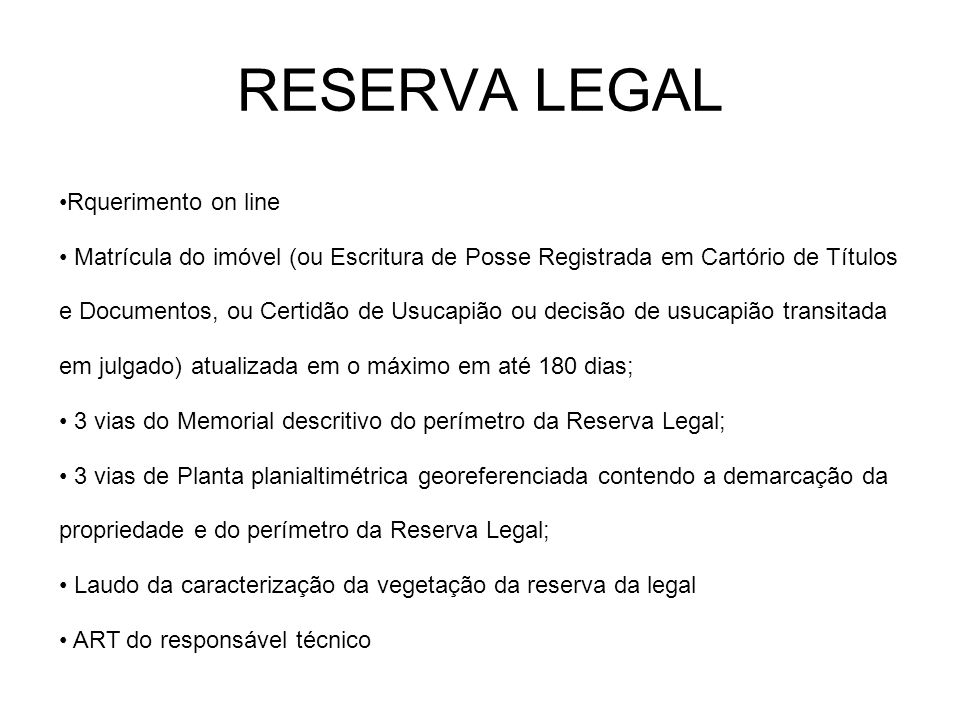 RESERVA LEGAL Rquerimento on line