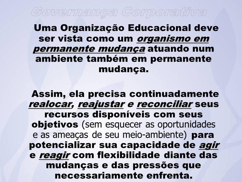 Uma Organização Educacional deve ser vista como um organismo em permanente mudança atuando num ambiente também em permanente mudança.