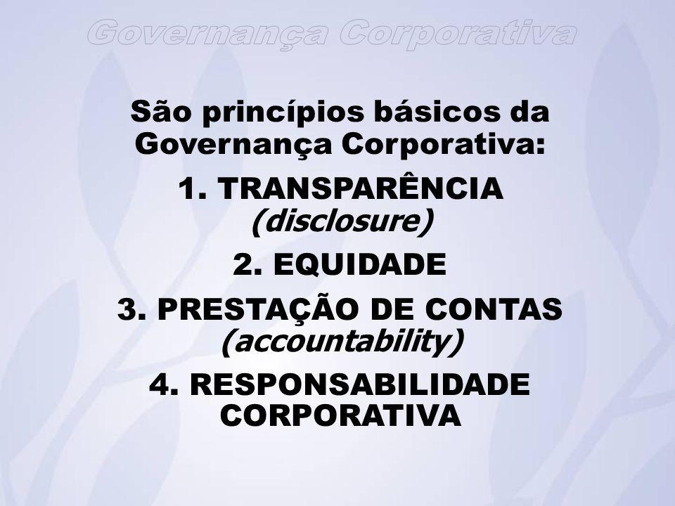 São princípios básicos da Governança Corporativa: 1. TRANSPARÊNCIA