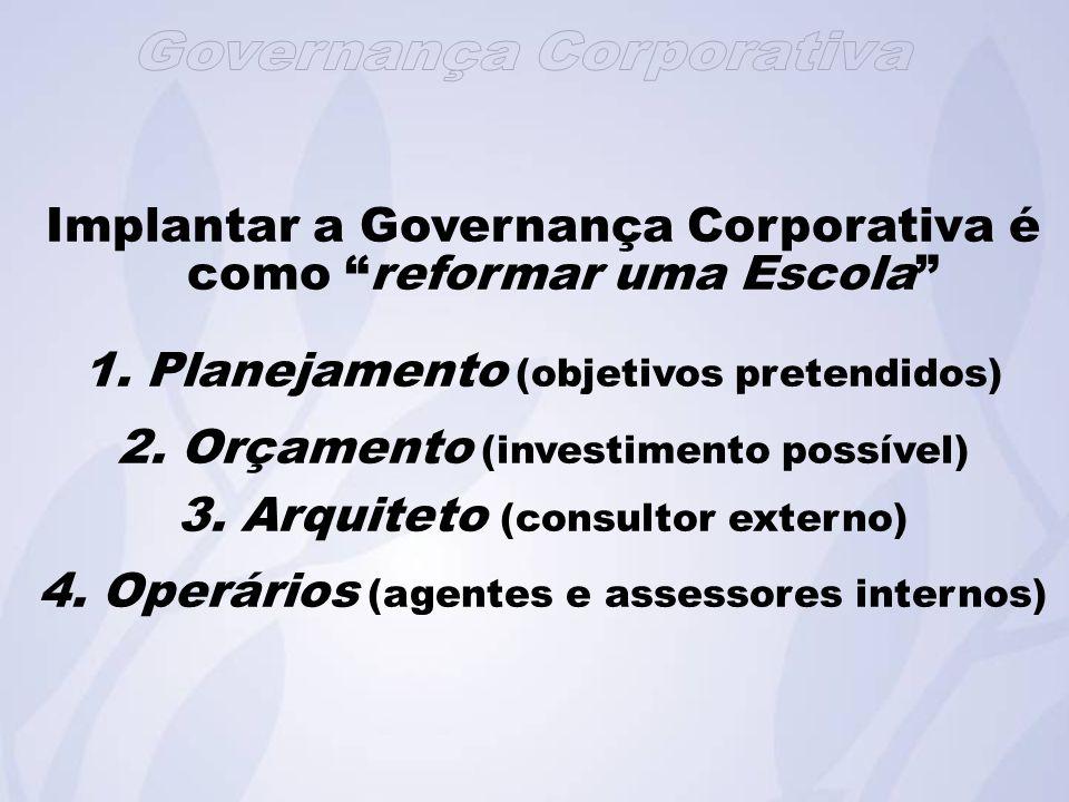 Implantar a Governança Corporativa é como reformar uma Escola
