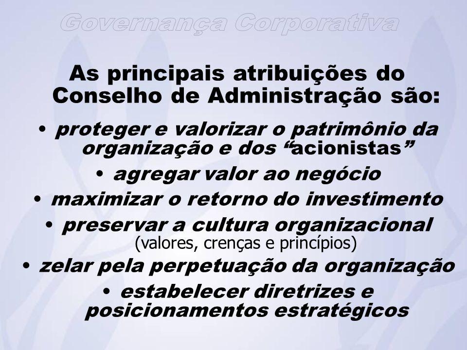 As principais atribuições do Conselho de Administração são: