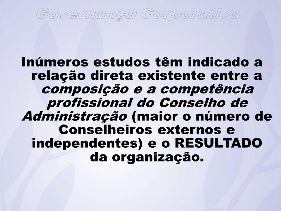 Inúmeros estudos têm indicado a relação direta existente entre a composição e a competência profissional do Conselho de Administração (maior o número de Conselheiros externos e independentes) e o RESULTADO da organização.