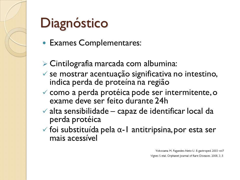 Diagnóstico Exames Complementares: Cintilografia marcada com albumina: