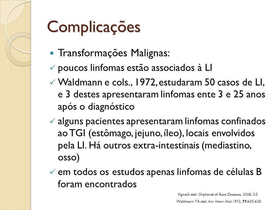 Complicações Transformações Malignas: