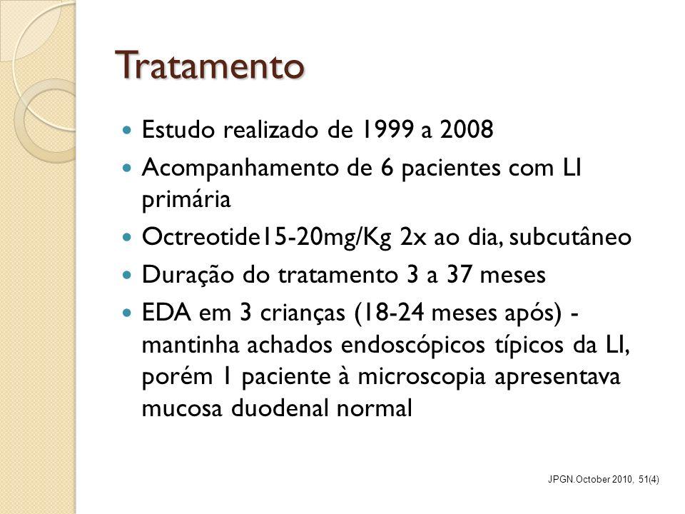 Tratamento Estudo realizado de 1999 a 2008