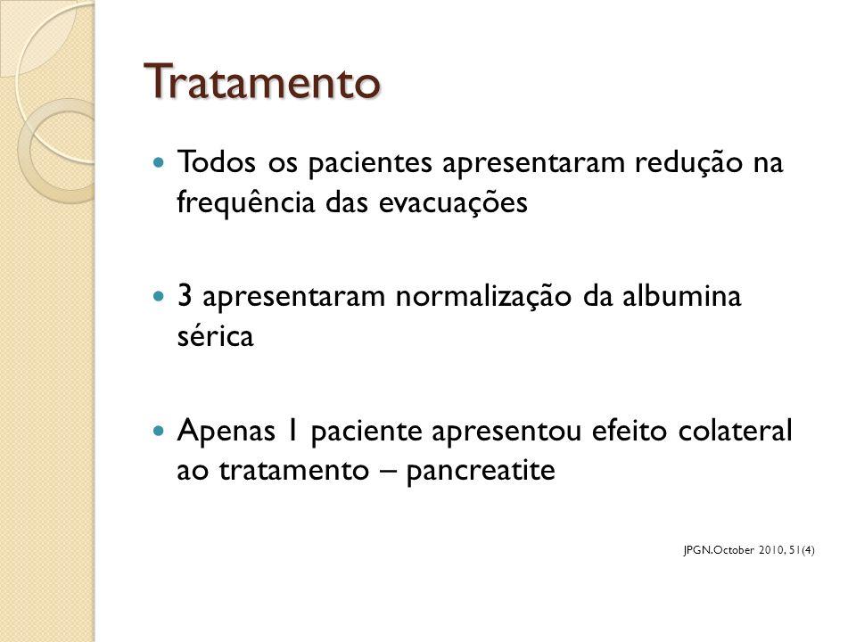 Tratamento Todos os pacientes apresentaram redução na frequência das evacuações. 3 apresentaram normalização da albumina sérica.