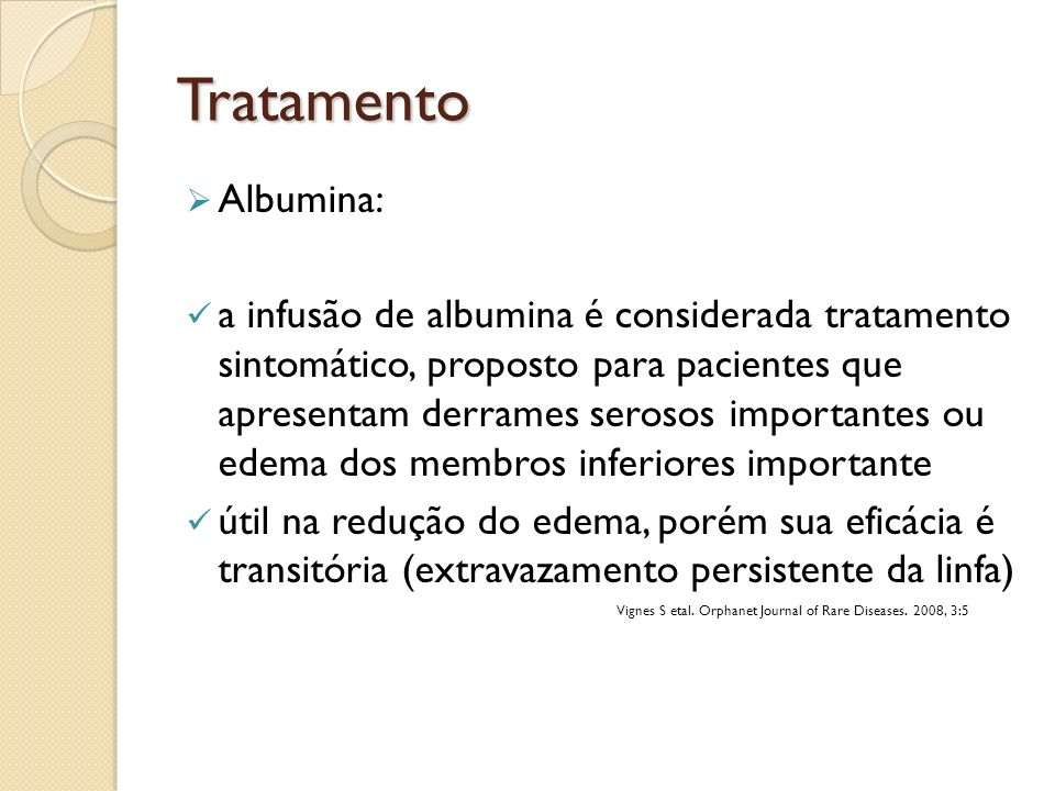 Tratamento Albumina: