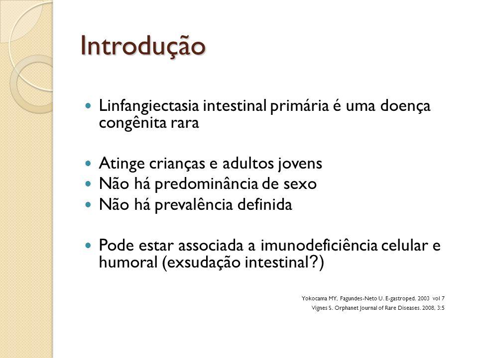 Introdução Linfangiectasia intestinal primária é uma doença congênita rara. Atinge crianças e adultos jovens.