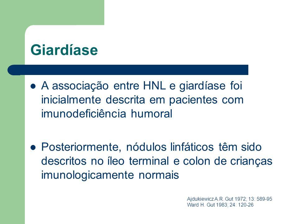 GiardíaseA associação entre HNL e giardíase foi inicialmente descrita em pacientes com imunodeficiência humoral.