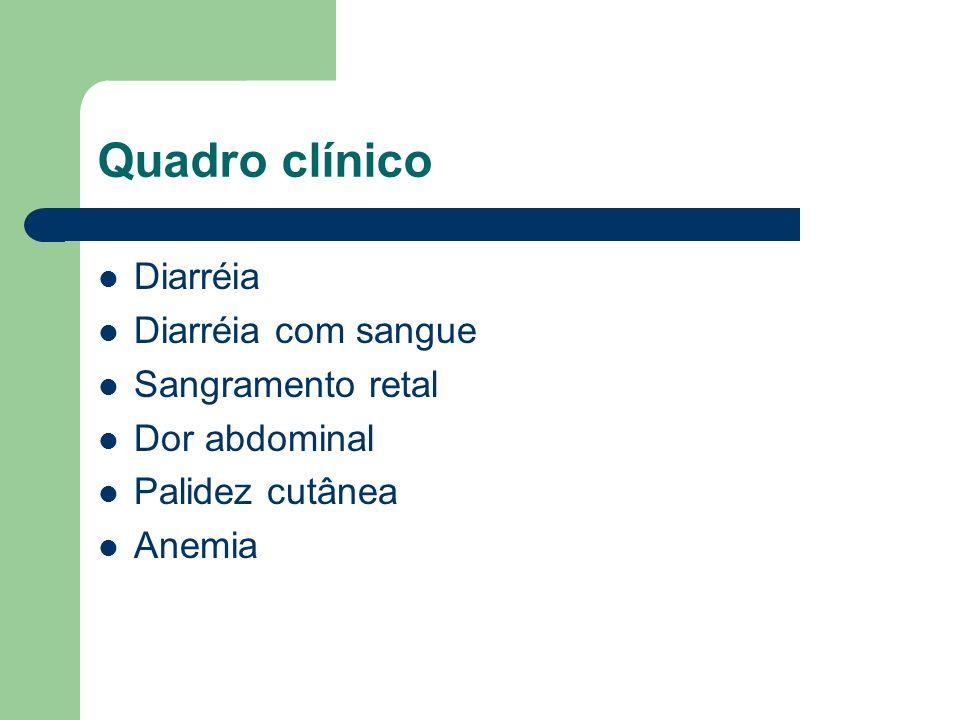 Quadro clínico Diarréia Diarréia com sangue Sangramento retal