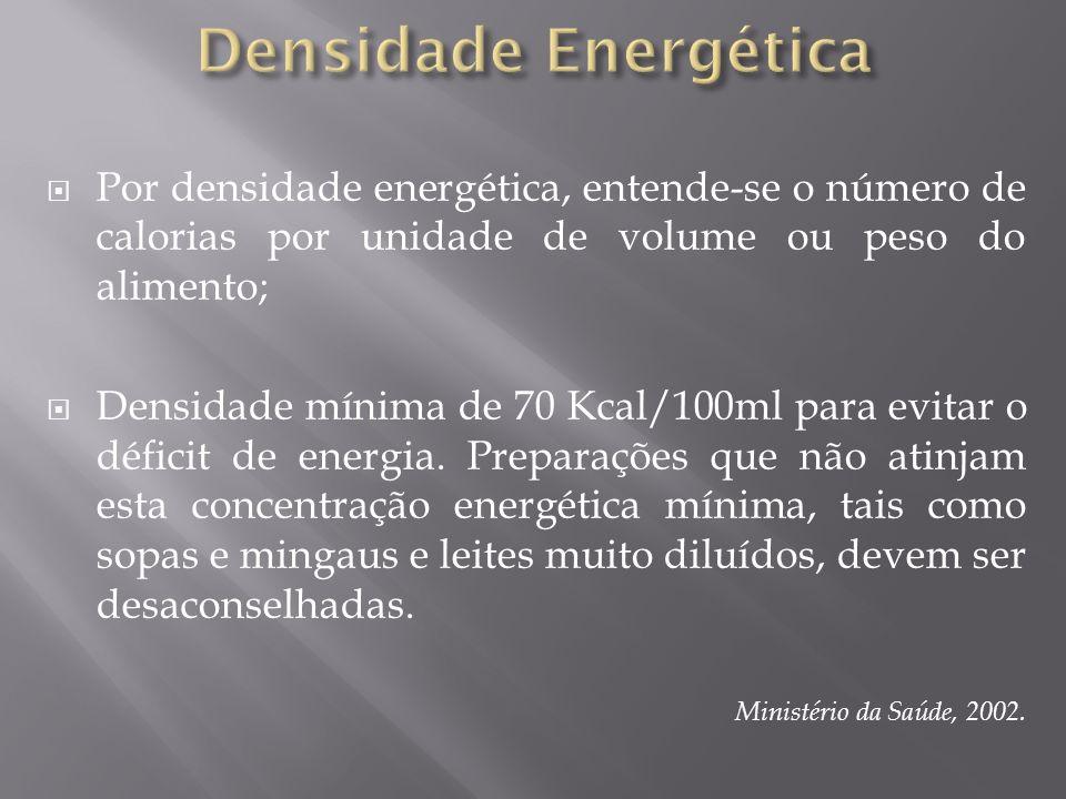 Densidade Energética Por densidade energética, entende-se o número de calorias por unidade de volume ou peso do alimento;