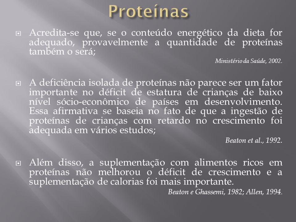 Proteínas Acredita-se que, se o conteúdo energético da dieta for adequado, provavelmente a quantidade de proteínas também o será;