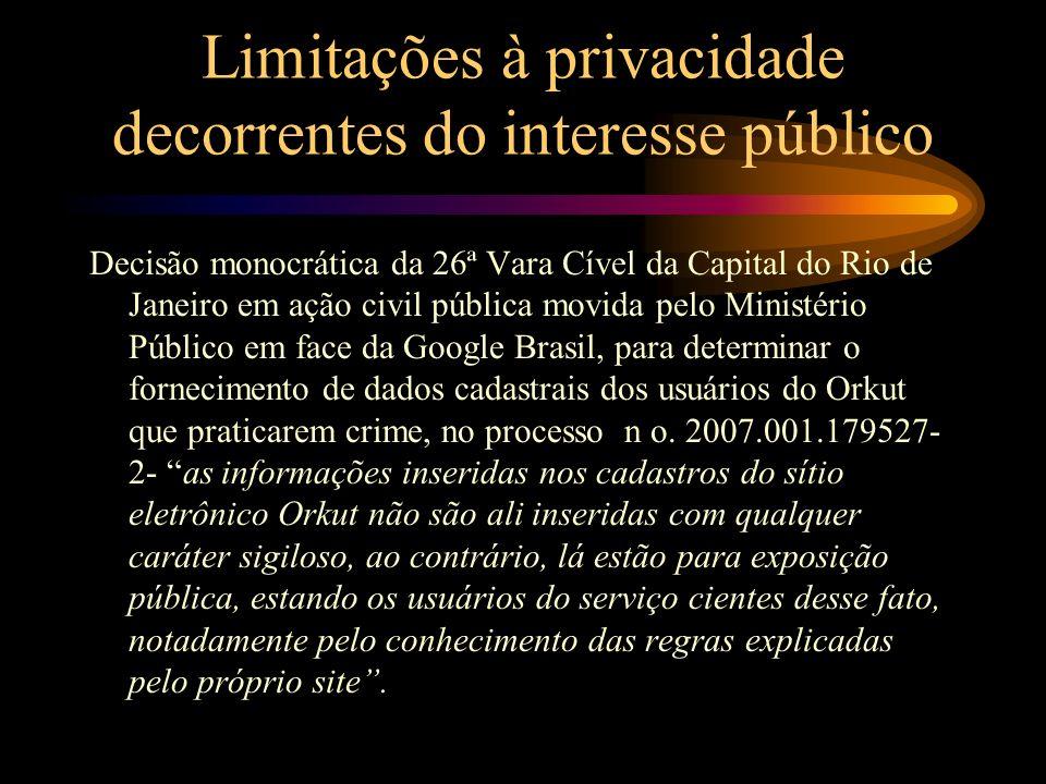 Limitações à privacidade decorrentes do interesse público