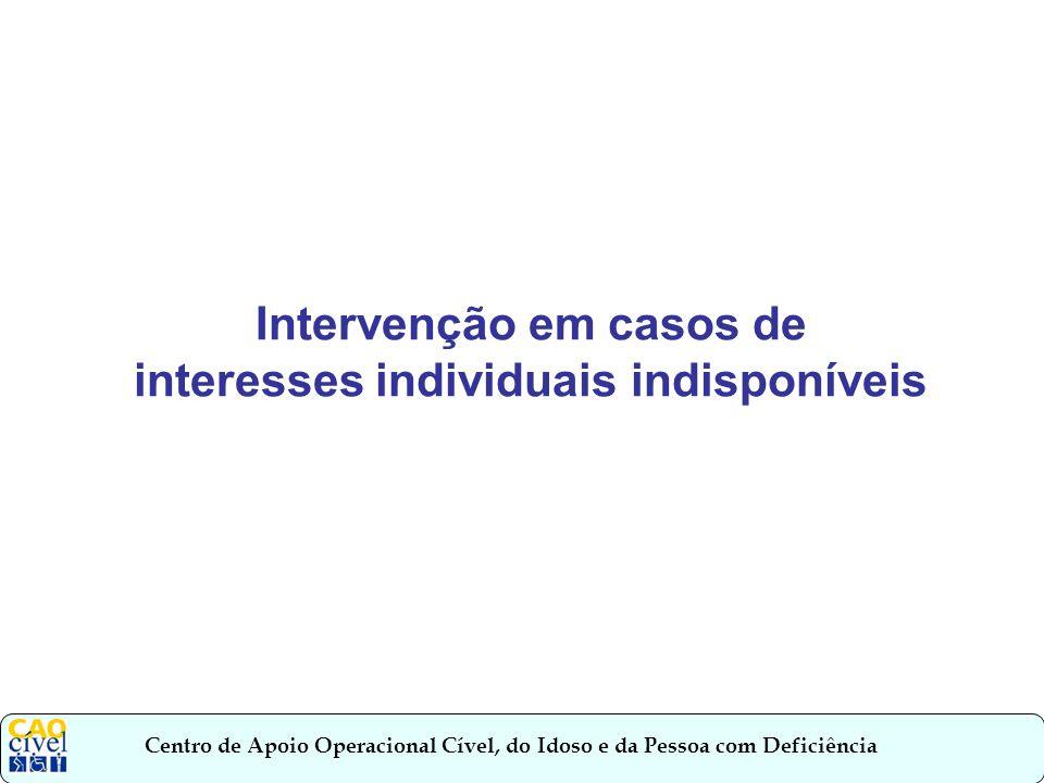 Intervenção em casos de interesses individuais indisponíveis