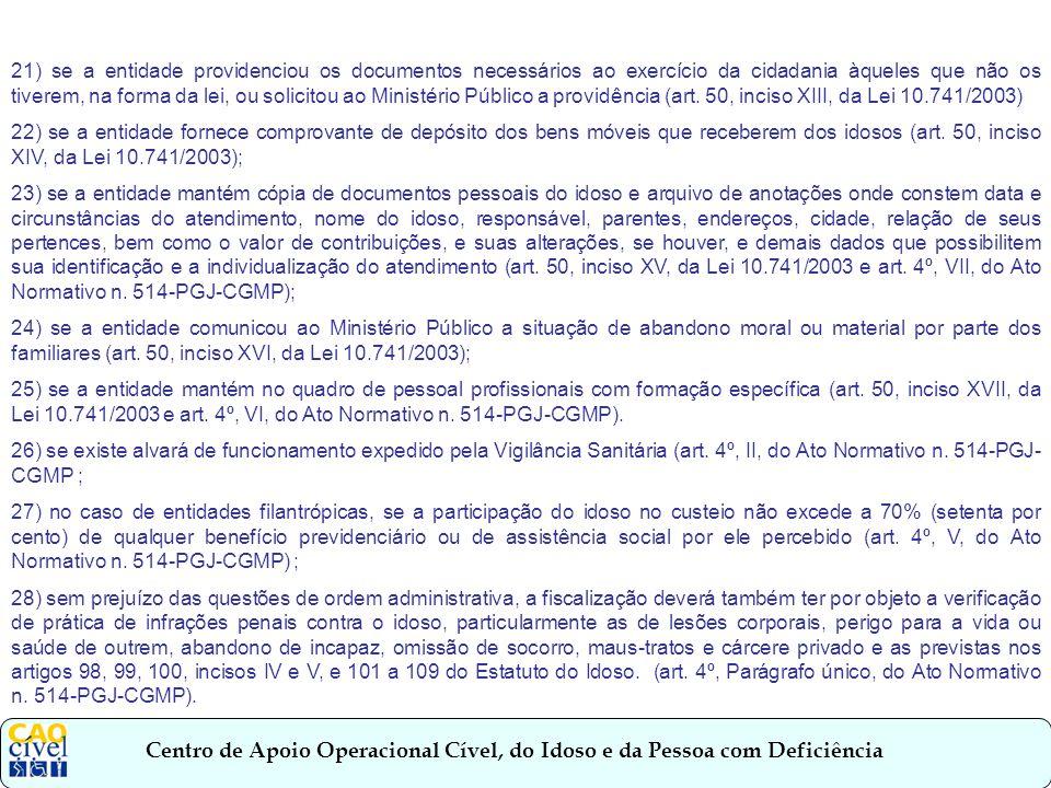 21) se a entidade providenciou os documentos necessários ao exercício da cidadania àqueles que não os tiverem, na forma da lei, ou solicitou ao Ministério Público a providência (art. 50, inciso XIII, da Lei 10.741/2003)