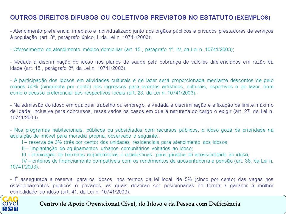 OUTROS DIREITOS DIFUSOS OU COLETIVOS PREVISTOS NO ESTATUTO (EXEMPLOS)