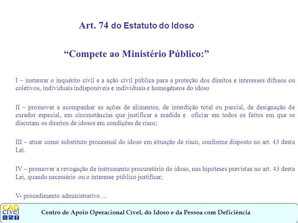 Art. 74 do Estatuto do Idoso Compete ao Ministério Público:
