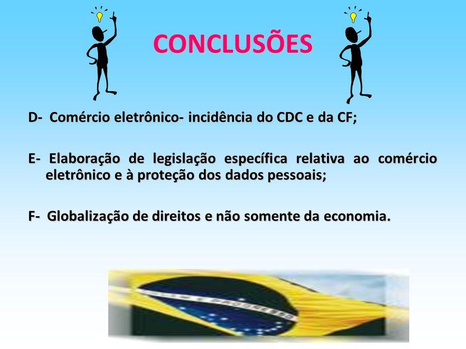 CONCLUSÕES D- Comércio eletrônico- incidência do CDC e da CF;